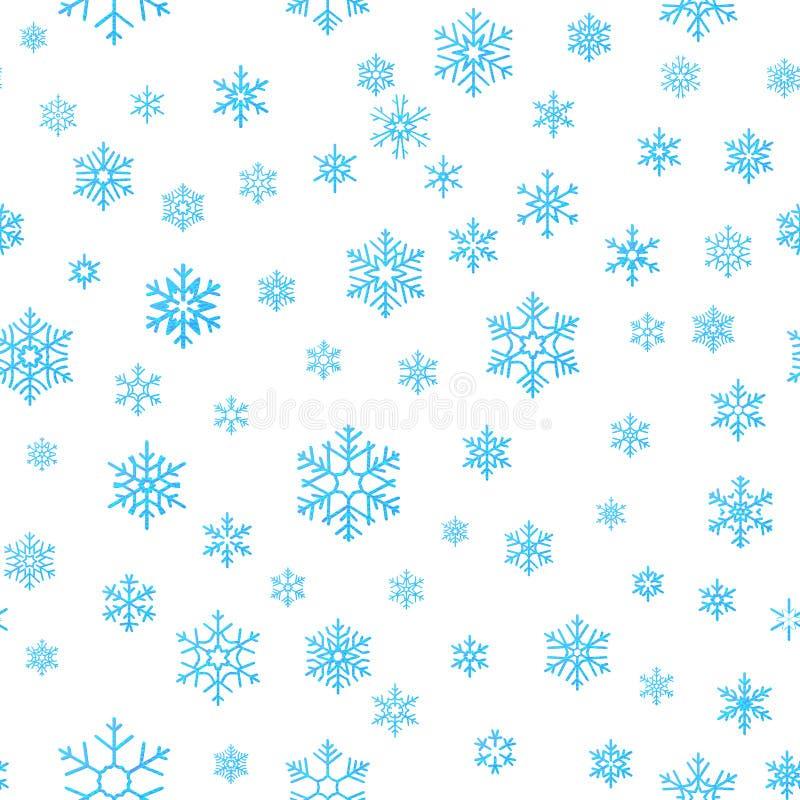 Fondo del efecto de la decoración del día de fiesta de la Feliz Navidad Plantilla inconsútil del modelo del copo de nieve azul EP stock de ilustración