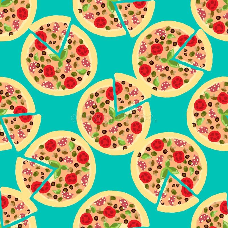 Fondo del ejemplo con las pizzas Modelo inconsútil ilustración del vector