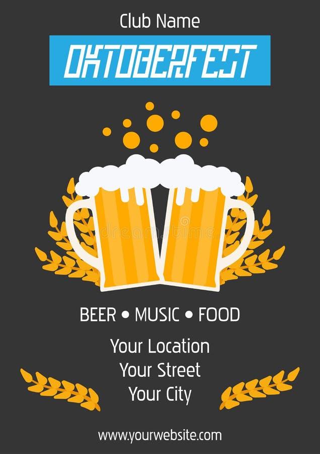 Fondo del ejemplo de la cerveza del día de fiesta de Oktoberfest El alemán festivo de Munich del evento bávaro de la decoración a ilustración del vector