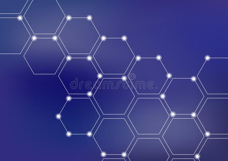Fondo del ejemplo del vector de la red neuronal o del blockchain stock de ilustración