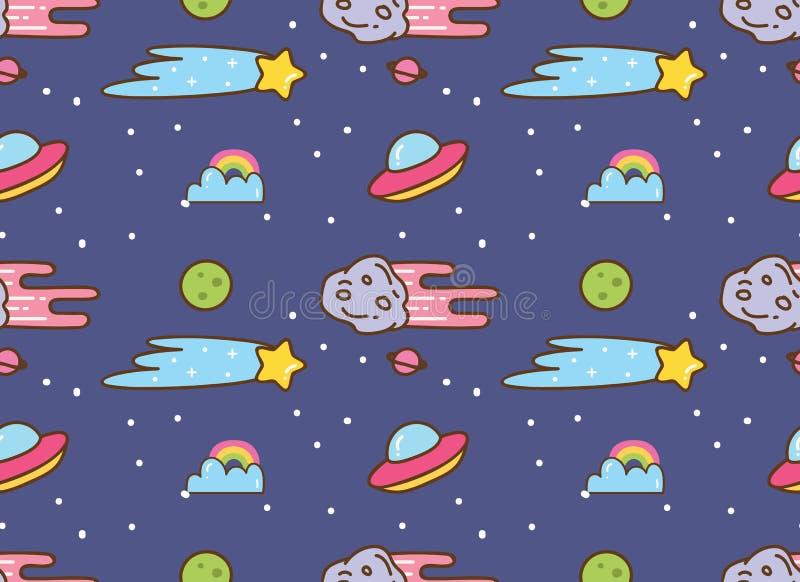 Fondo del espacio con el UFO, la estrella y el meteorito en fondo del estilo del kawaii stock de ilustración