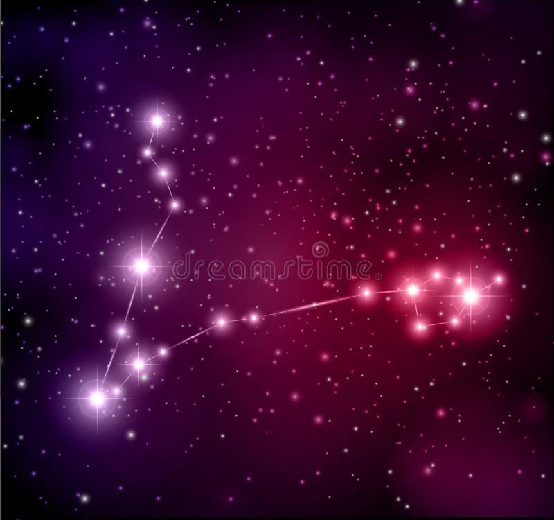Fondo del espacio con las estrellas y la constelación de Piscis libre illustration