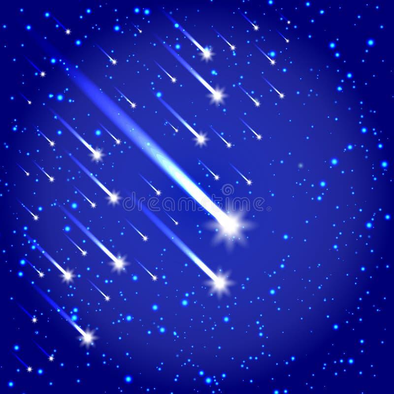 Fondo del espacio con las estrellas y los cometas stock de ilustración