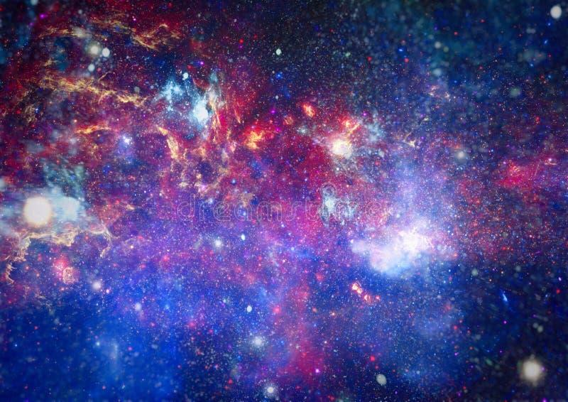 Fondo del espacio de la abstracción para el diseño Luz mística planetas, estrellas y galaxias en el espacio exterior que muestra  foto de archivo libre de regalías