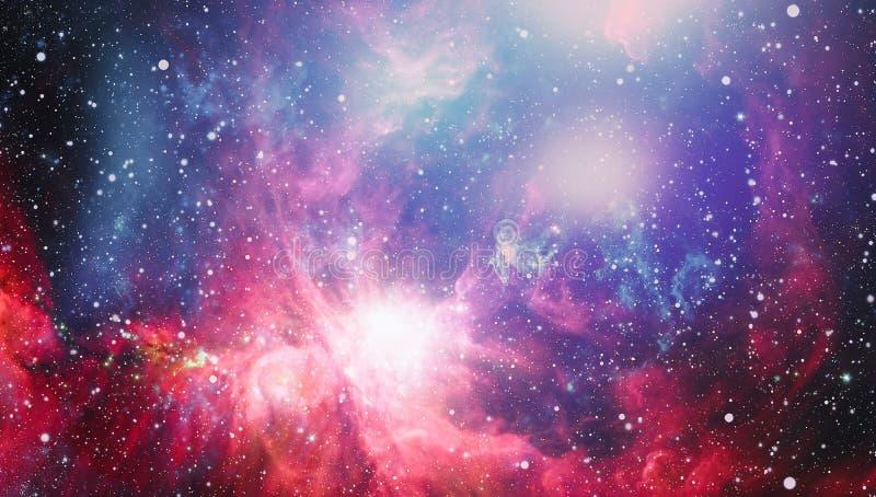 Fondo del espacio de la abstracción para el diseño Luz mística planetas, estrellas y galaxias en el espacio exterior que muestra  foto de archivo