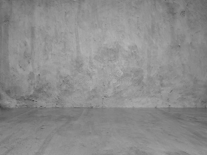 Fondo del espacio de la copia de Gray Stucco Concrete Wall y del piso stock de ilustración