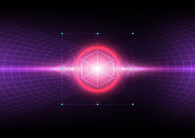 Fondo del espacio de la dimensión del tiempo del vector, ciencia abstracta hyperspace libre illustration