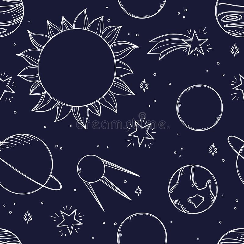 Fondo del espacio Ejemplos dibujados mano del vector Modelo inconsútil del garabato ósmico del ¡de Ð con los planetas, estrellas, stock de ilustración