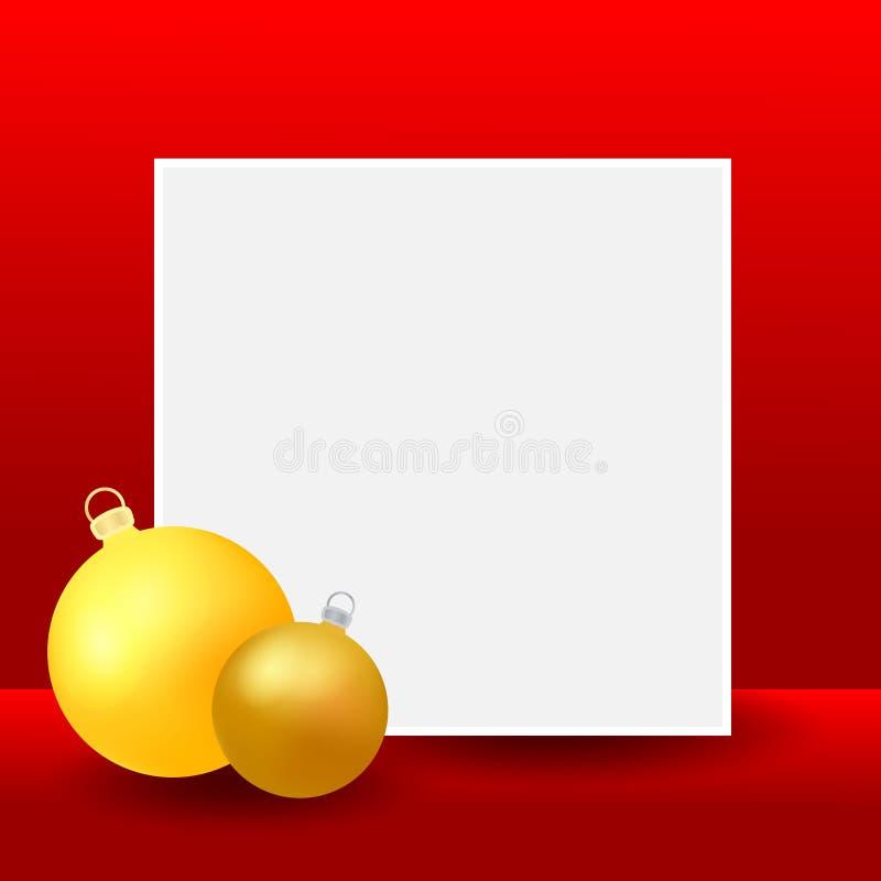 Fondo del espacio en blanco de la Navidad y del Año Nuevo con las chucherías de oro Plantilla del diseño de la bandera para los a ilustración del vector