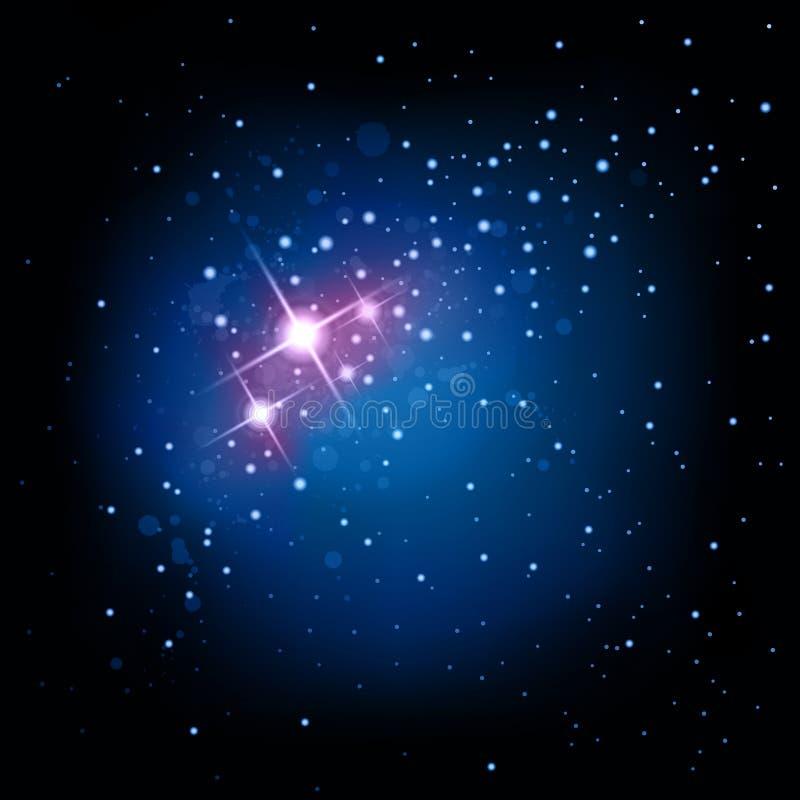 Fondo del espacio y de la estrella stock de ilustración