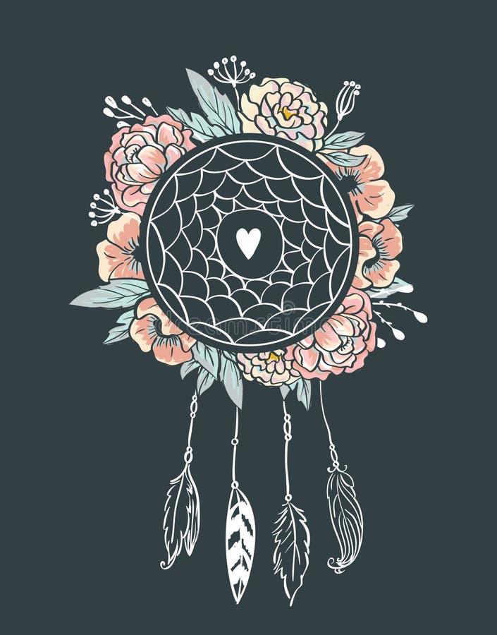 Fondo del estilo de Boho Ilustración del vector Flores, plumas y hojas libre illustration