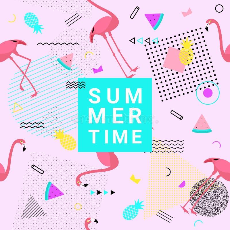 Fondo del estilo de Memphis del verano con el flamenco, sandía, pinea stock de ilustración