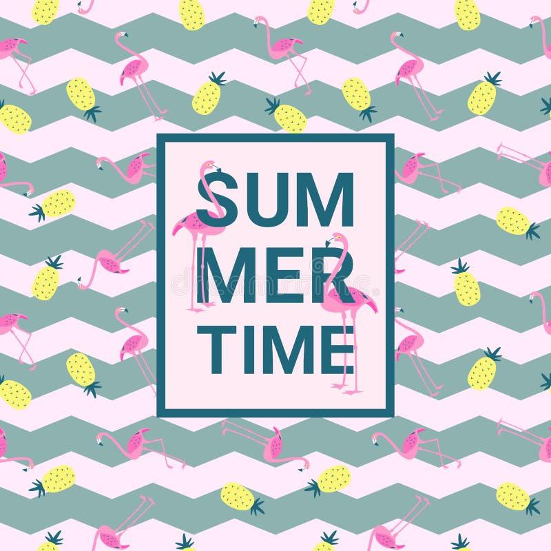 Fondo del estilo de Memphis del verano con el flamenco y la piña libre illustration