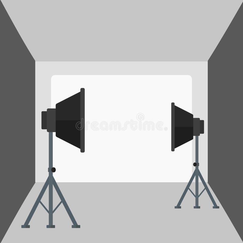 Fondo del estudio vacío de la foto con el equipo de iluminación stock de ilustración