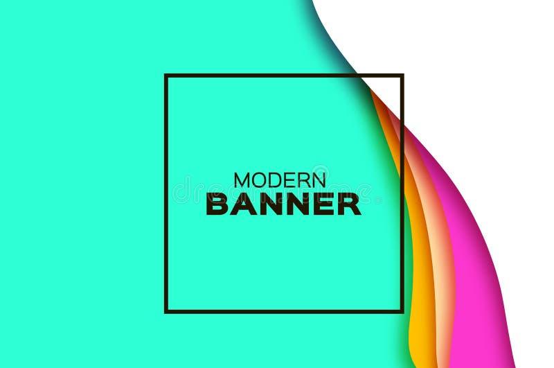 fondo del extracto 3D con formas del corte del papel Fondo acodado de la onda del paisaje del túnel Bandera moderna Caja de sombr libre illustration