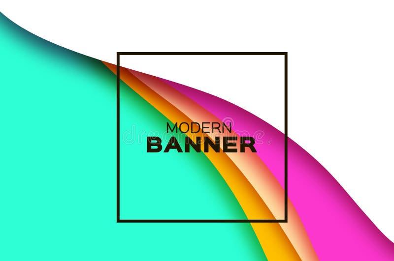 fondo del extracto 3D con formas del corte del papel Fondo acodado de la onda del paisaje del túnel Bandera moderna Caja de sombr stock de ilustración