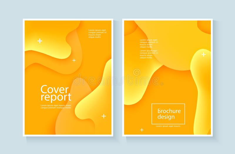 Fondo del extracto de la cubierta del informe corporativo con la onda amarilla expresiva y el flujo flúido del movimiento stock de ilustración