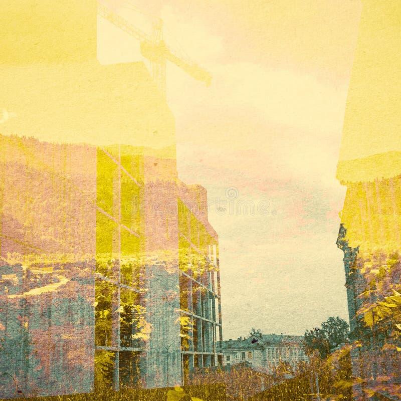 Fondo del extracto de la ecología de la fantasía Paisaje urbano mezclado con el natural en la textura de papel fotos de archivo libres de regalías