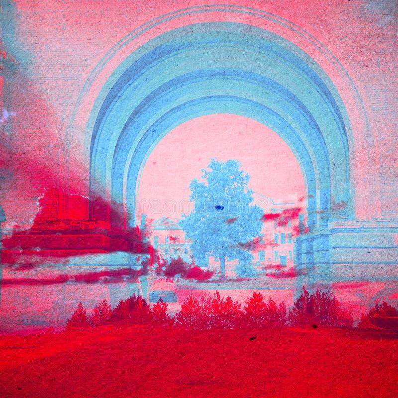 Fondo del extracto de la ecología de la fantasía Paisaje urbano mezclado con el natural en la textura de papel imágenes de archivo libres de regalías