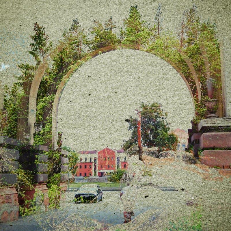 Fondo del extracto de la ecología de la fantasía Paisaje urbano mezclado con el natural en la textura de papel ilustración del vector