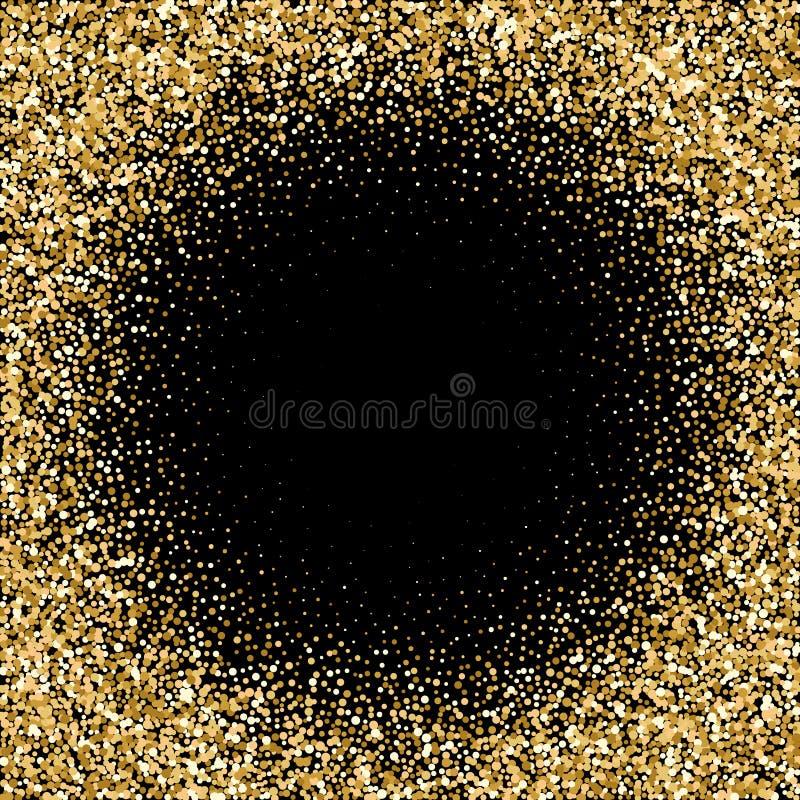 Fondo del extracto de la onda del brillo del oro, chispas de oro en el fondo negro, plantilla del dise?o - Vektorgrafik EPS 10 stock de ilustración