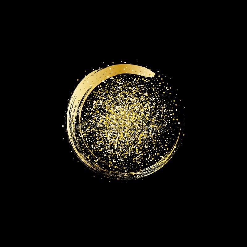 Fondo del extracto de la onda del brillo del oro, chispas de oro en fondo negro libre illustration