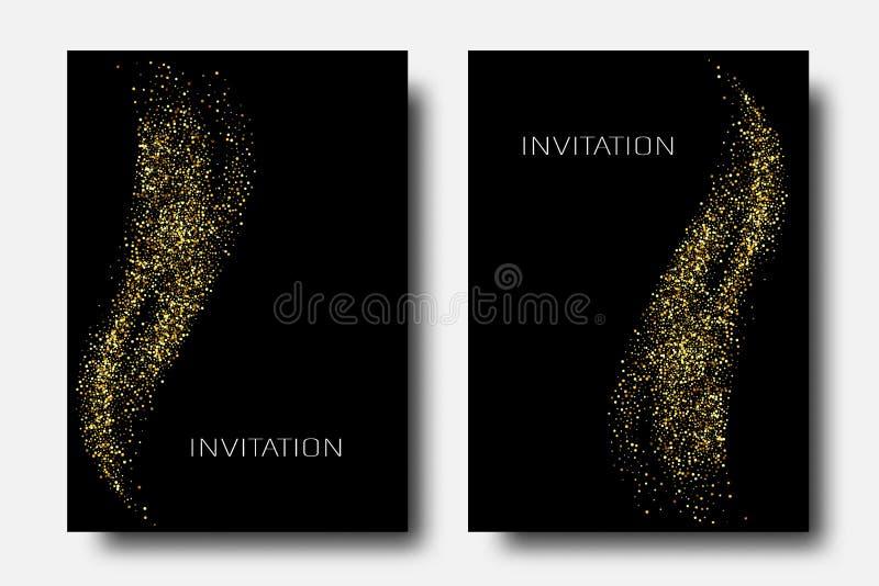 Fondo del extracto de la onda del brillo del oro del vector, chispas de oro en el fondo negro, plantilla del dise?o del vip stock de ilustración