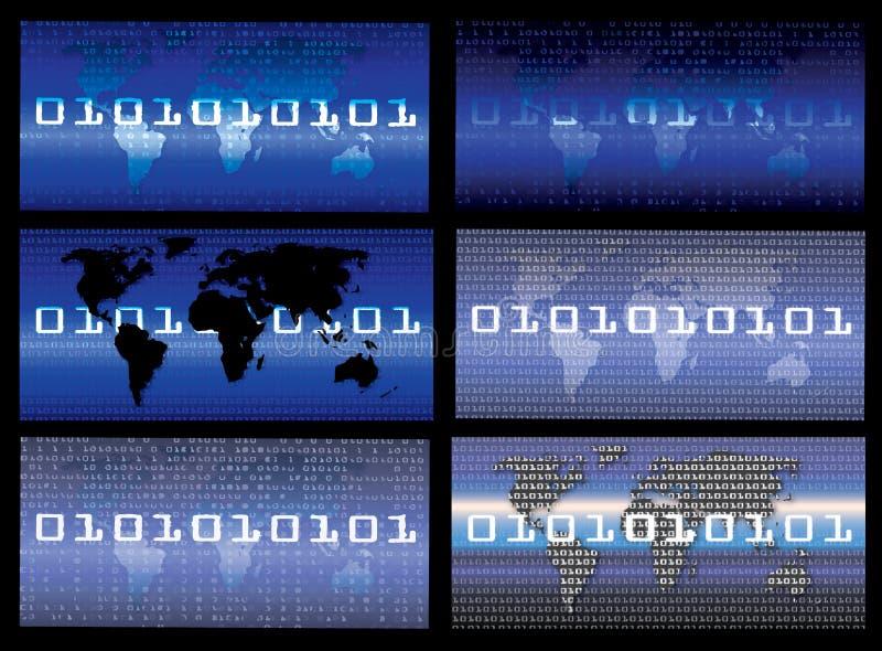 Fondo del extracto del concepto del negocio papel pintado del código binario 0,1 stock de ilustración