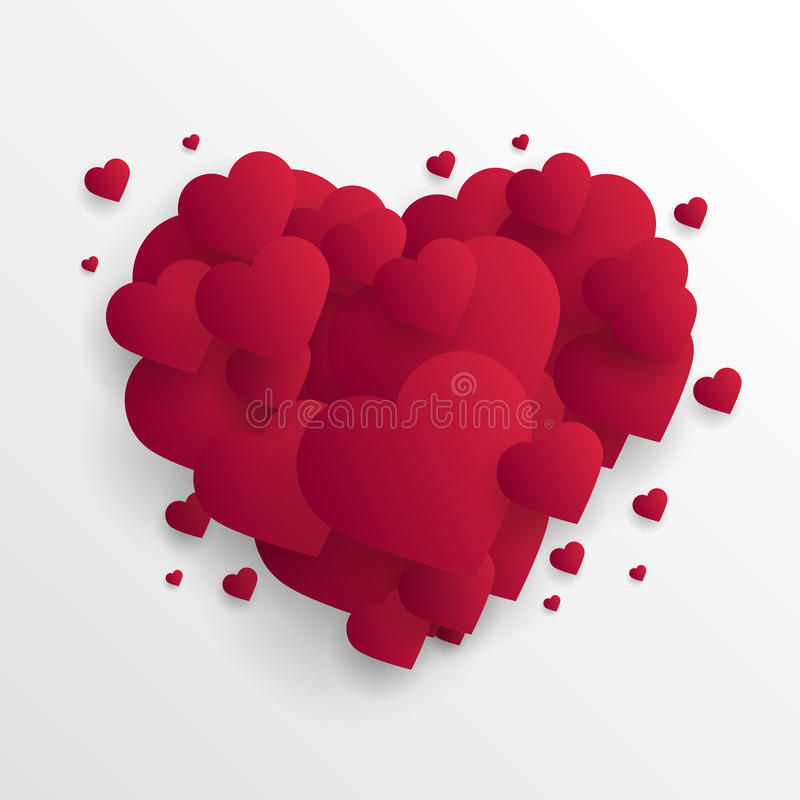 Fondo del extracto del día del ` s de la tarjeta del día de San Valentín con los corazones de papel cortados Vector stock de ilustración