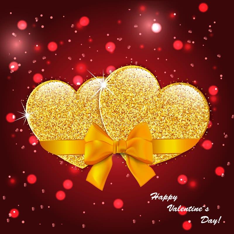 Fondo del extracto del día del ` s de la tarjeta del día de San Valentín con los corazones del oro libre illustration