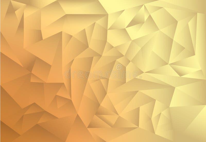 Fondo del extracto del modelo del polígono, oro y sombra marrón del tema libre illustration