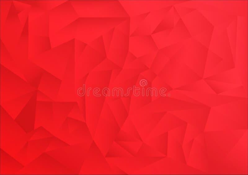 Fondo del extracto del modelo del polígono, tema rojo stock de ilustración