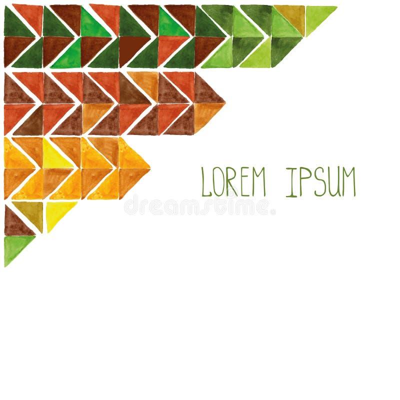 Fondo del extracto del triángulo de la acuarela Brown, amarillo, verde libre illustration