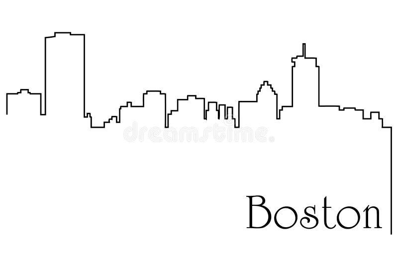 Fondo del extracto del dibujo lineal de la ciudad una de Boston con paisaje urbano stock de ilustración