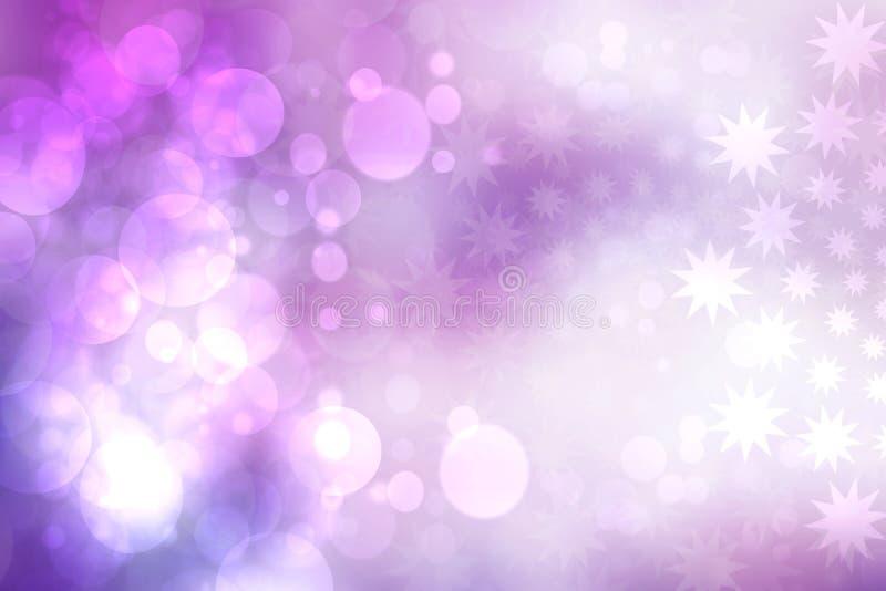 Fondo del extracto festivo de una textura de la Feliz Año Nuevo o de la Navidad con las luces y las estrellas borrosas color púrp ilustración del vector