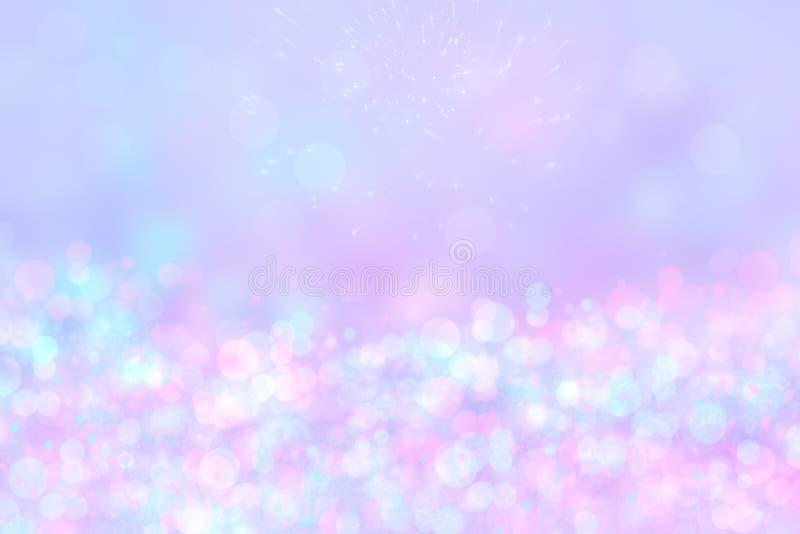 Fondo del extracto festivo de una textura de la Feliz Año Nuevo o de la Navidad y con las luces y las estrellas borrosas rosadas  fotografía de archivo libre de regalías