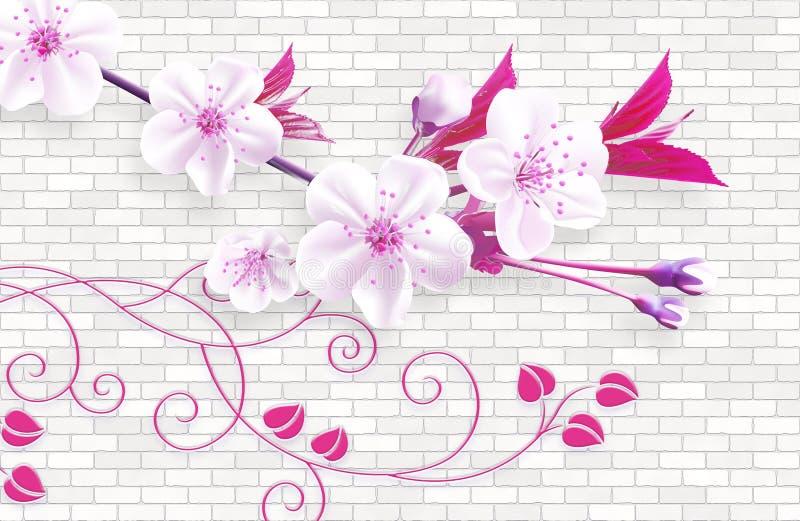 fondo del extracto del papel pintado 3d con los ladrillos de la pared y la rama verde de las flores del rosa libre illustration