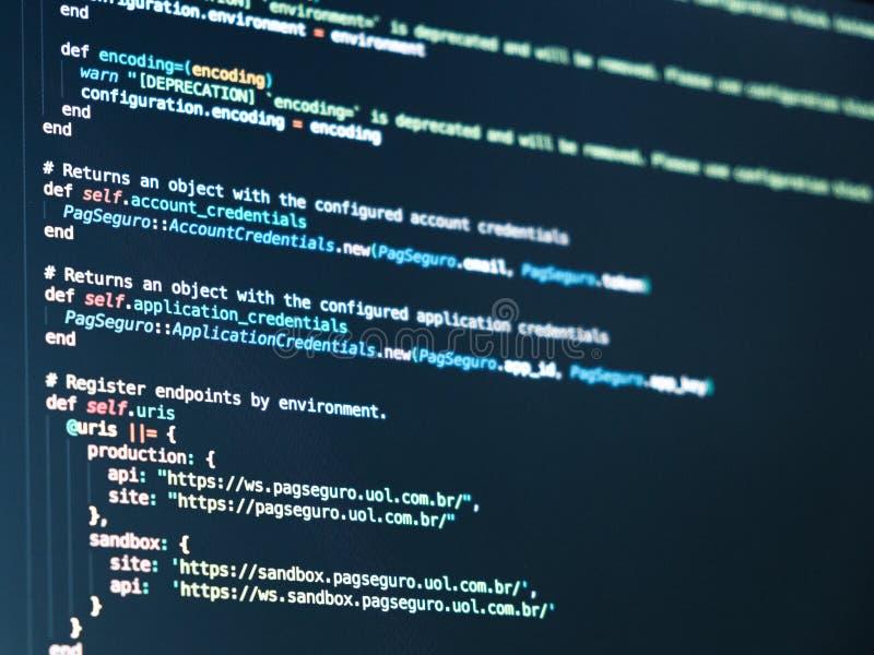Fondo del extracto del programador de la codificación Escritura del lenguaje de programación imagen de archivo libre de regalías