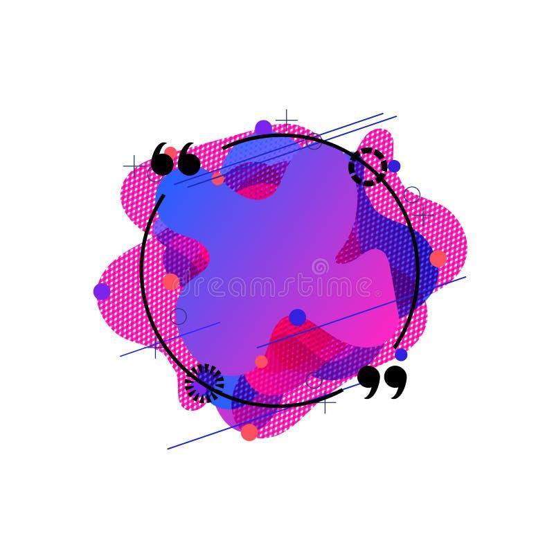 Fondo del extracto del vector, marco de la cita con el modelo colorido formado, geométrico líquido orgánico, elemento aislado del stock de ilustración