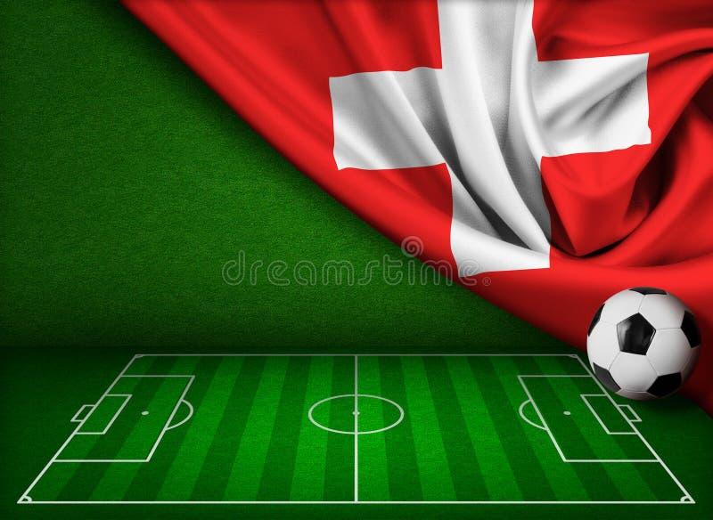 Fondo del fútbol o del fútbol con la bandera de Suiza ilustración del vector