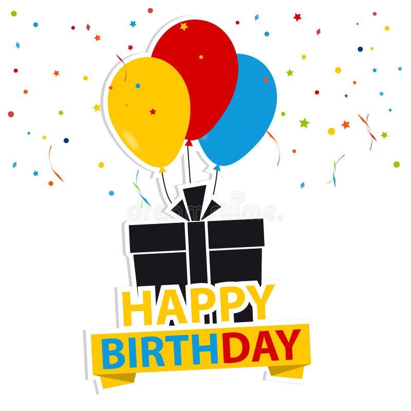 Fondo del feliz cumpleaños con el regalo y los globos - ejemplo colorido del vector - aislados en el fondo blanco stock de ilustración