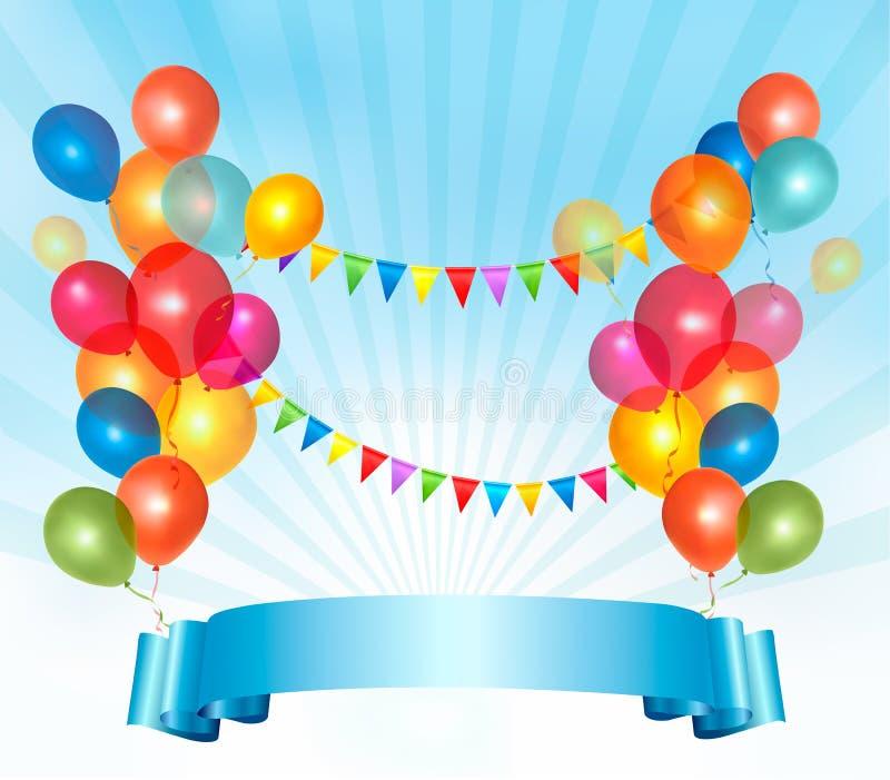 Fondo del feliz cumpleaños con los globos coloridos stock de ilustración