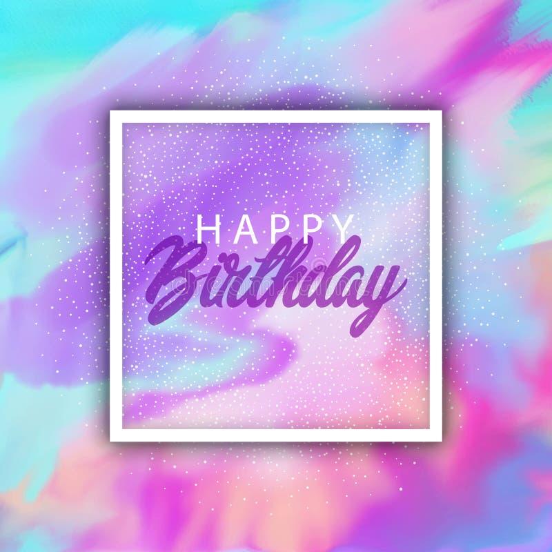 Fondo del feliz cumpleaños con textura del watercolour stock de ilustración