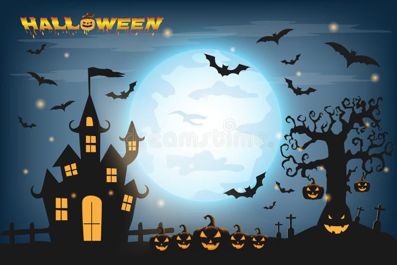Fondo del feliz Halloween con la calabaza y los zombis en el lleno ilustración del vector