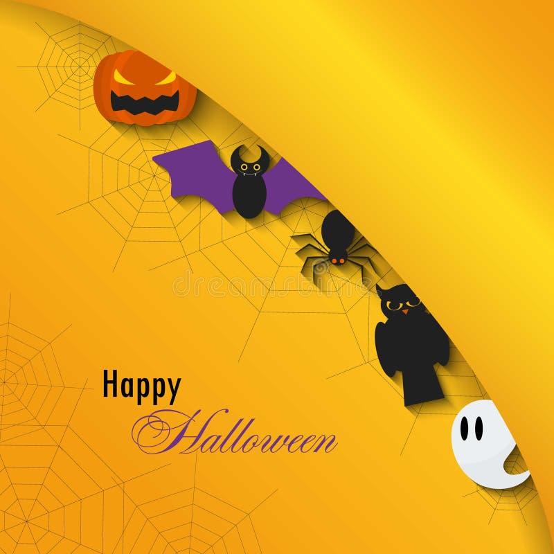Fondo del feliz Halloween Ejemplo plano del vector Muestras y símbolos Truco o convite ilustración del vector