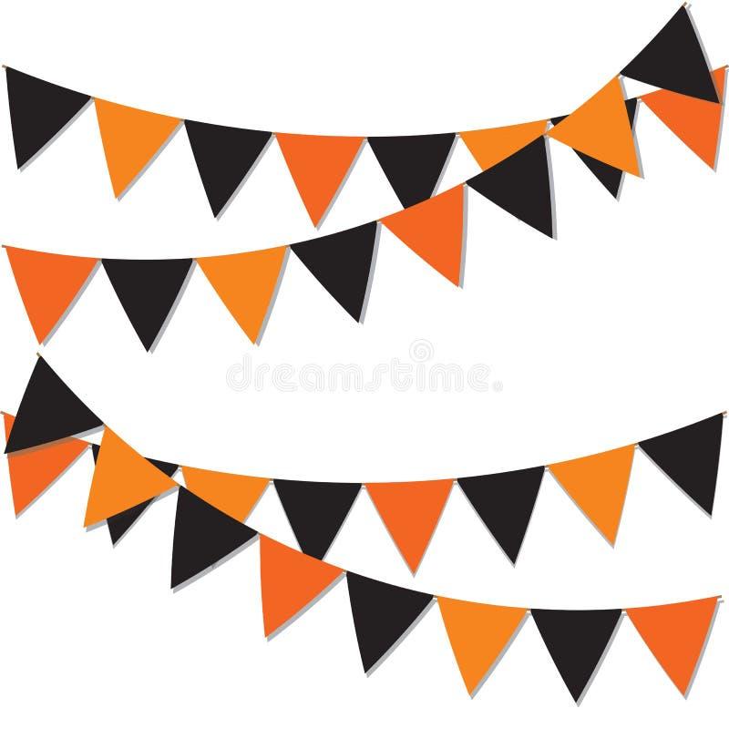 Fondo del feliz Halloween Guirnalda de indicadores coloreados Banderas festivas para la decoración Guirnaldas de banderas en un f ilustración del vector