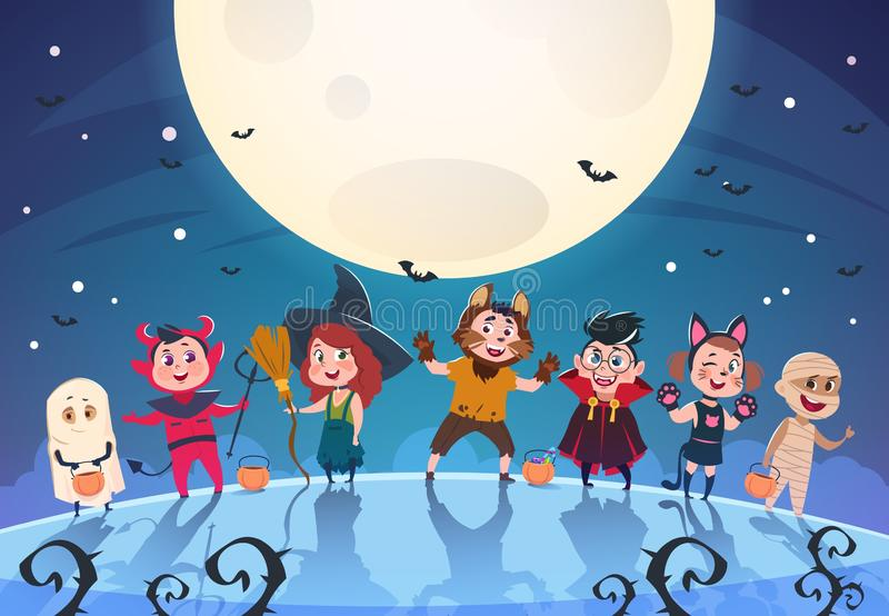 Fondo del feliz Halloween Monstruos y niños en trajes Cartel del partido de Halloween o plantilla del vector de la invitación stock de ilustración