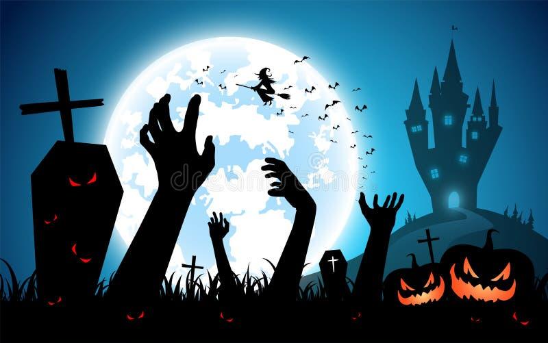 Fondo del festival de Halloween del ejemplo, Luna Llena en noche oscura con la mano del zombi para arriba del sepulcro libre illustration