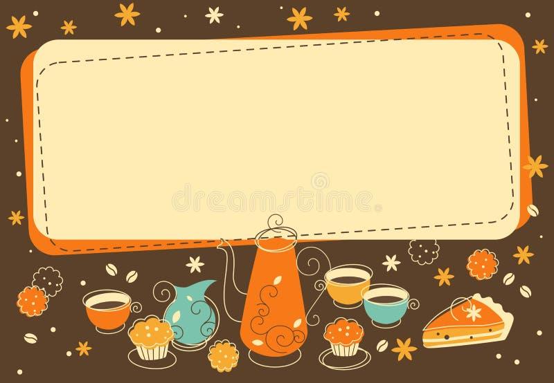Fondo del forno e del tè nel retro stile di scarabocchio royalty illustrazione gratis