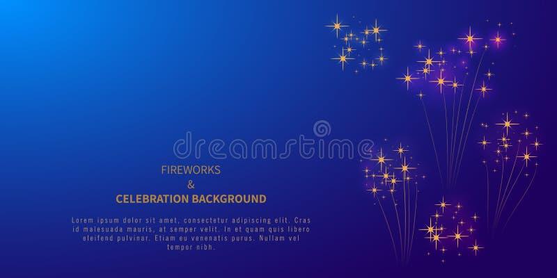 Fondo del fuego artificial con las estrellas o confeti y lugar para el texto el 4 de julio Fondo del grunge de la independencia D libre illustration
